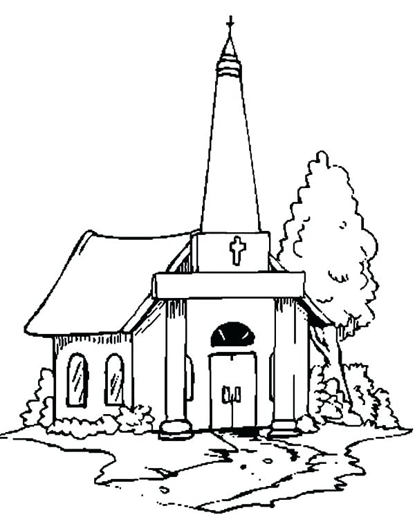 600x745 Church Coloring Page Church People With Faith Coloring Pages
