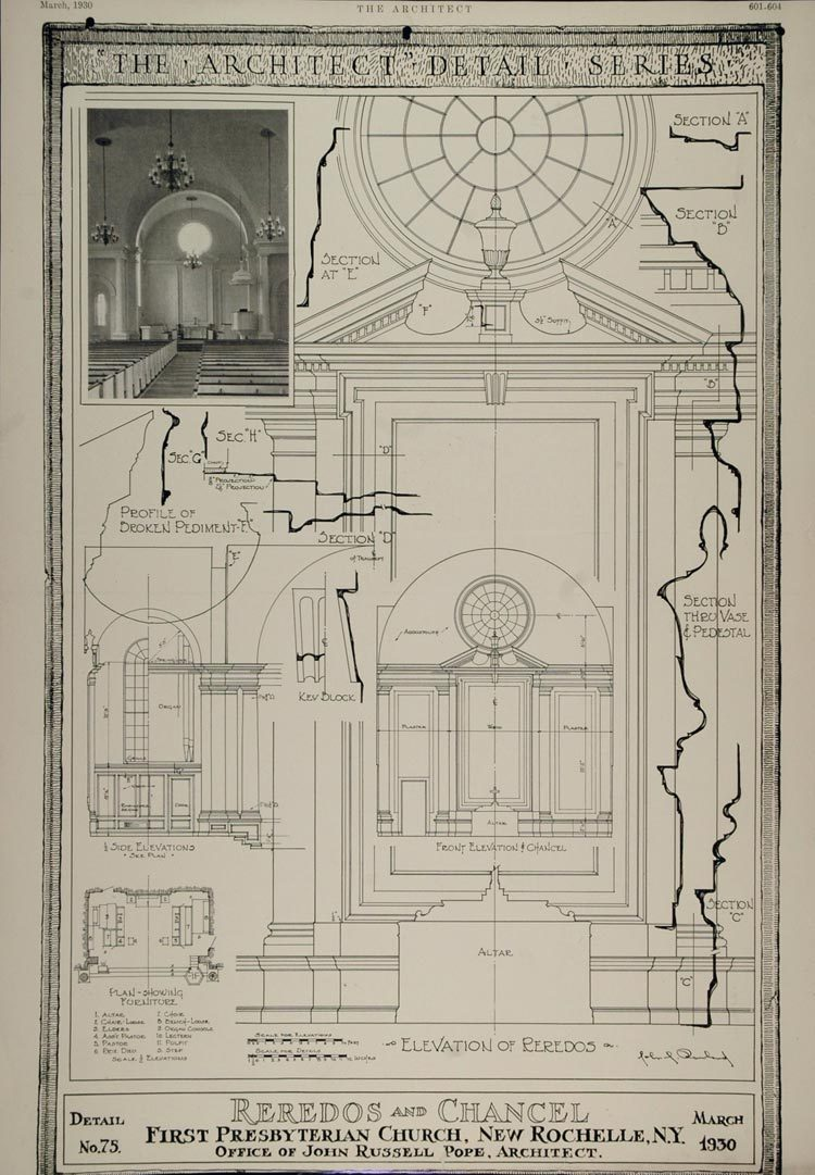 750x1081 1930 Print Altar First Presbyterian Church New Rochelle