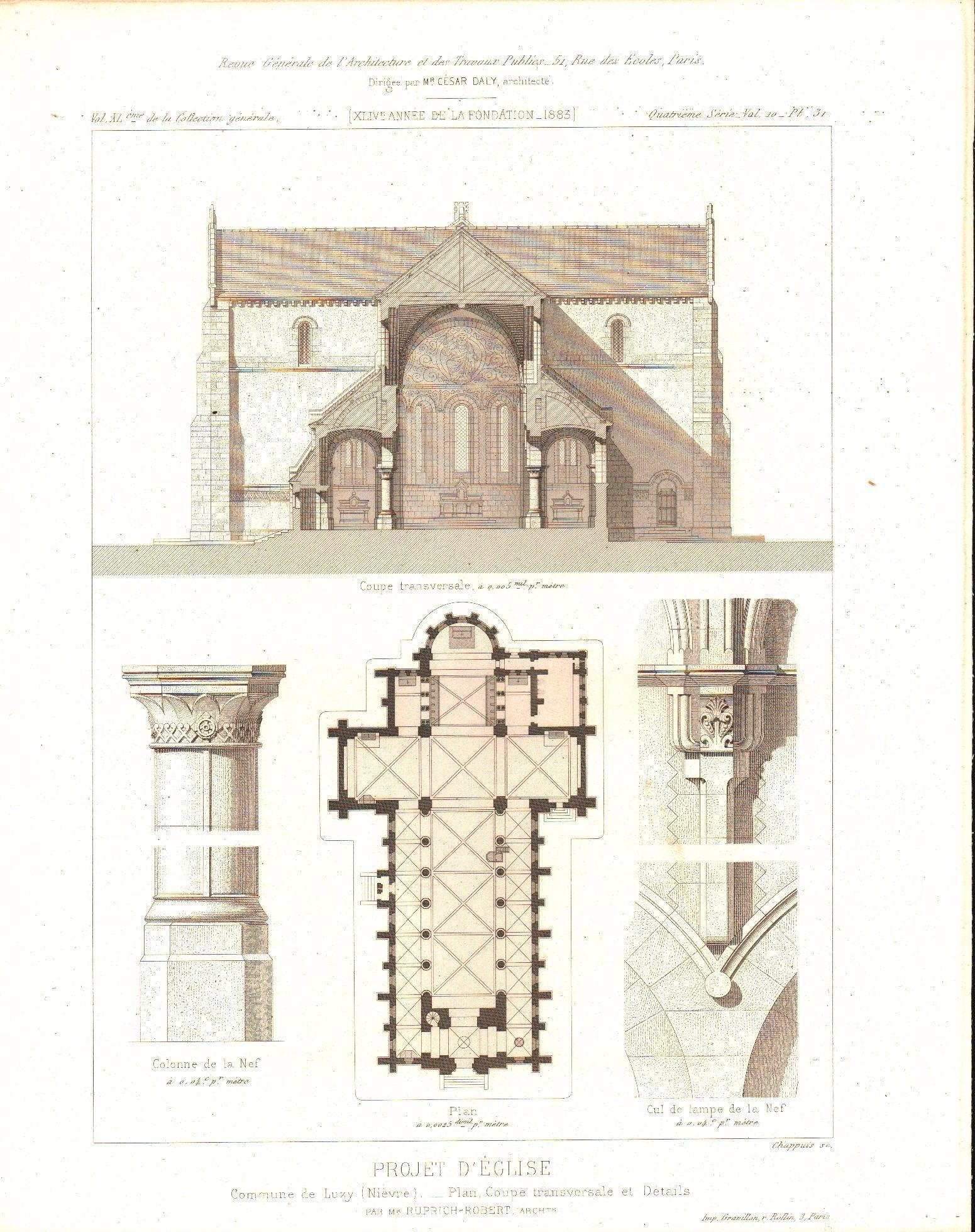 1551x1959 Architectural Church Plan Altar Design With Columns 1883