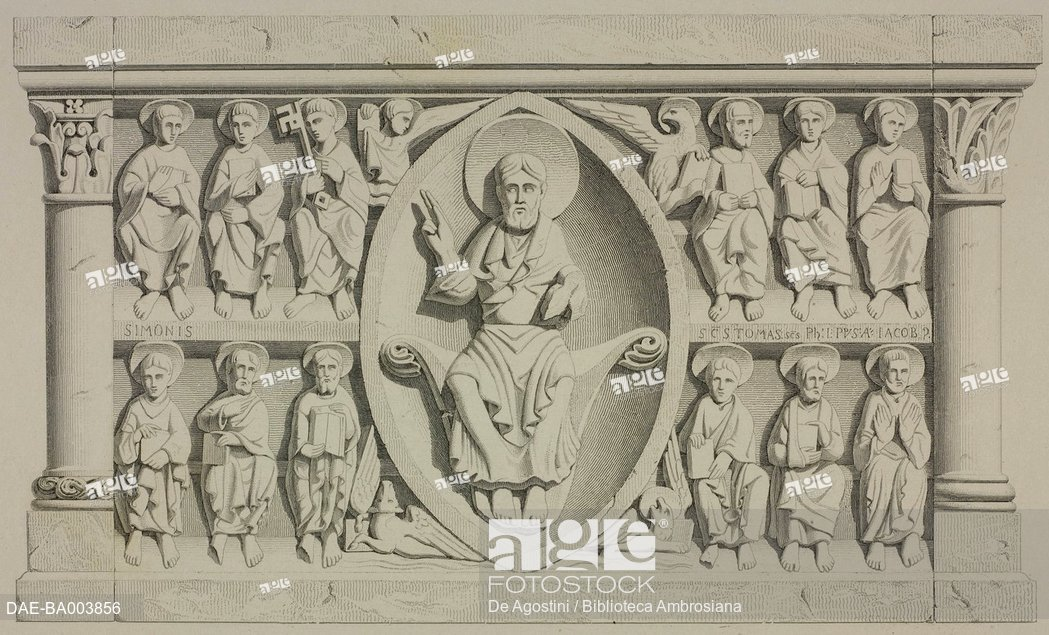 1049x635 Drawing For The Relief On The Altar In Avenas Church, France