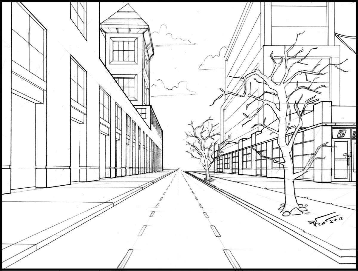 1200x908 Collection Of Easy One Point Perspective Drawing City High