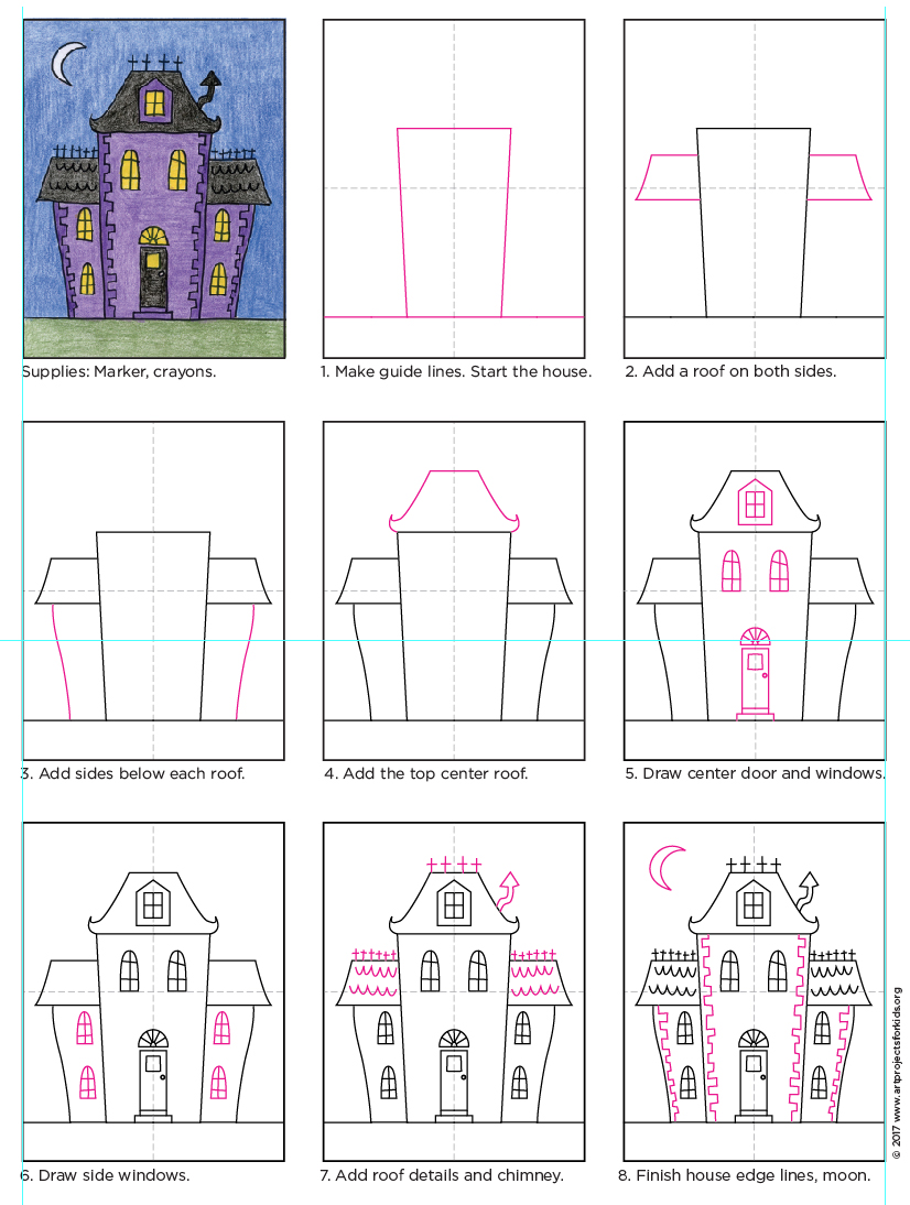826x1094 Draw An Easy Haunted House Art Projects For Kids