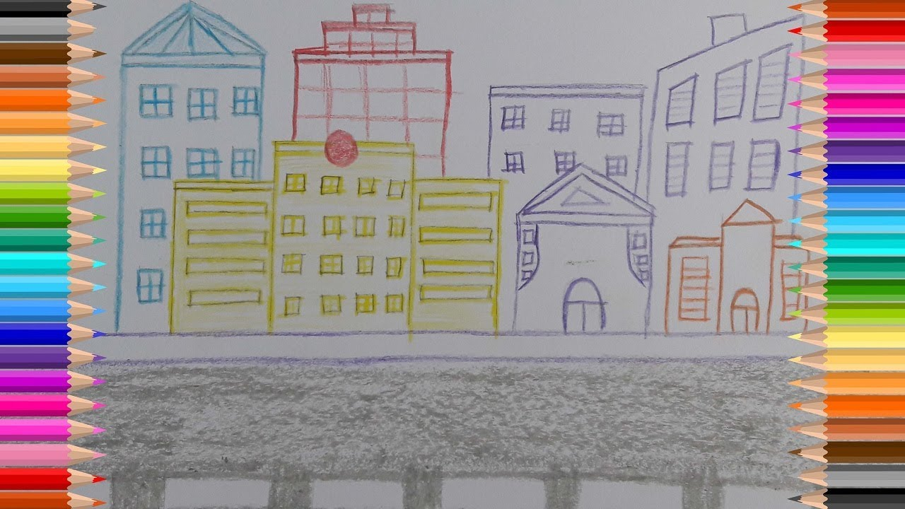 1280x720 How To Draw City Scene (Very Easy) City Scene Drawing Avro