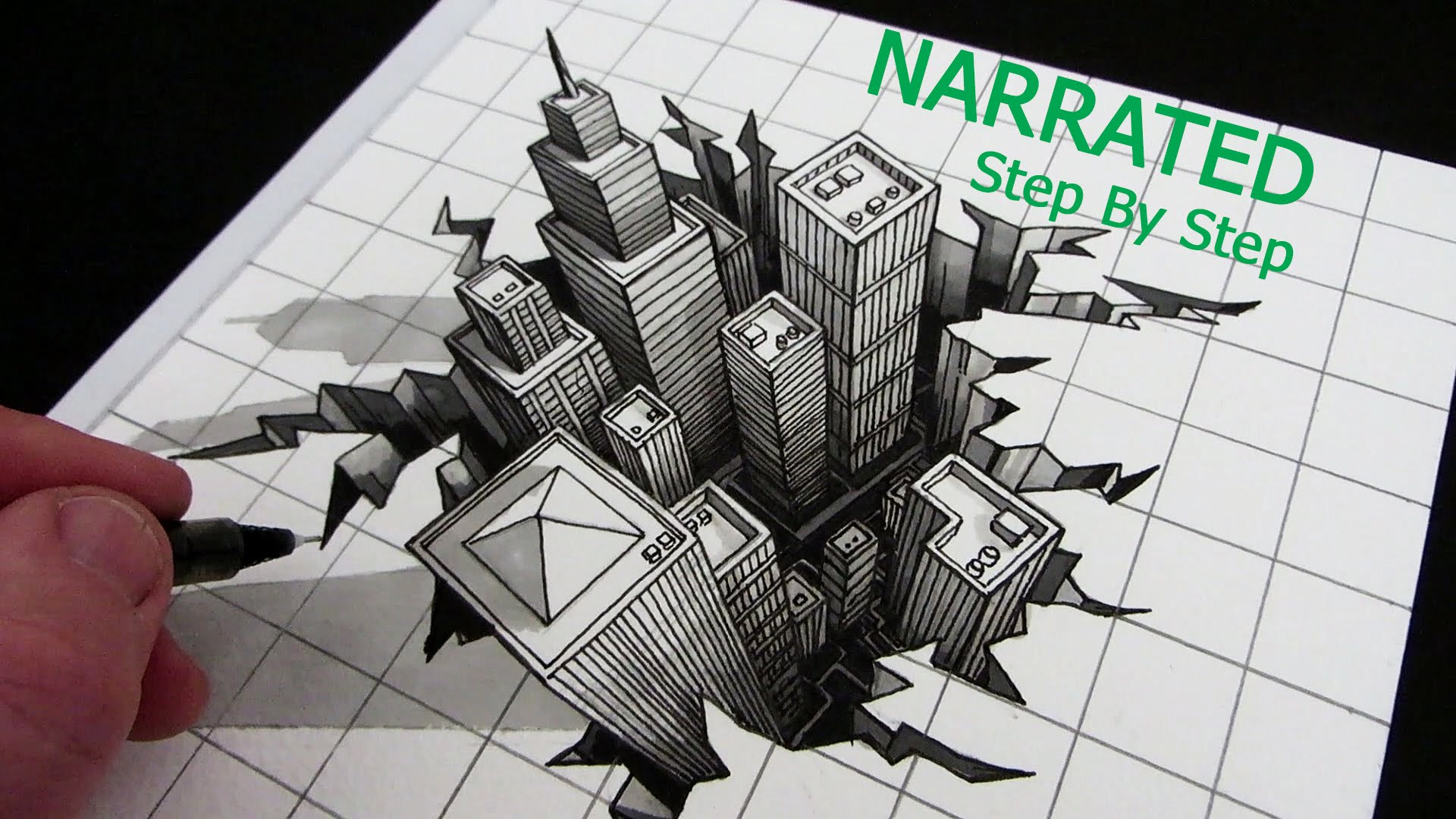 1920x1080 How To Draw A 3d City Optical Illusion Narrated Step By Step