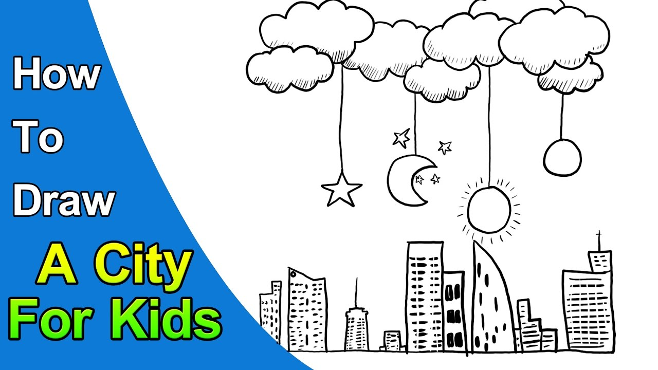 1280x720 How To Draw A City For Kids Easy Drawing