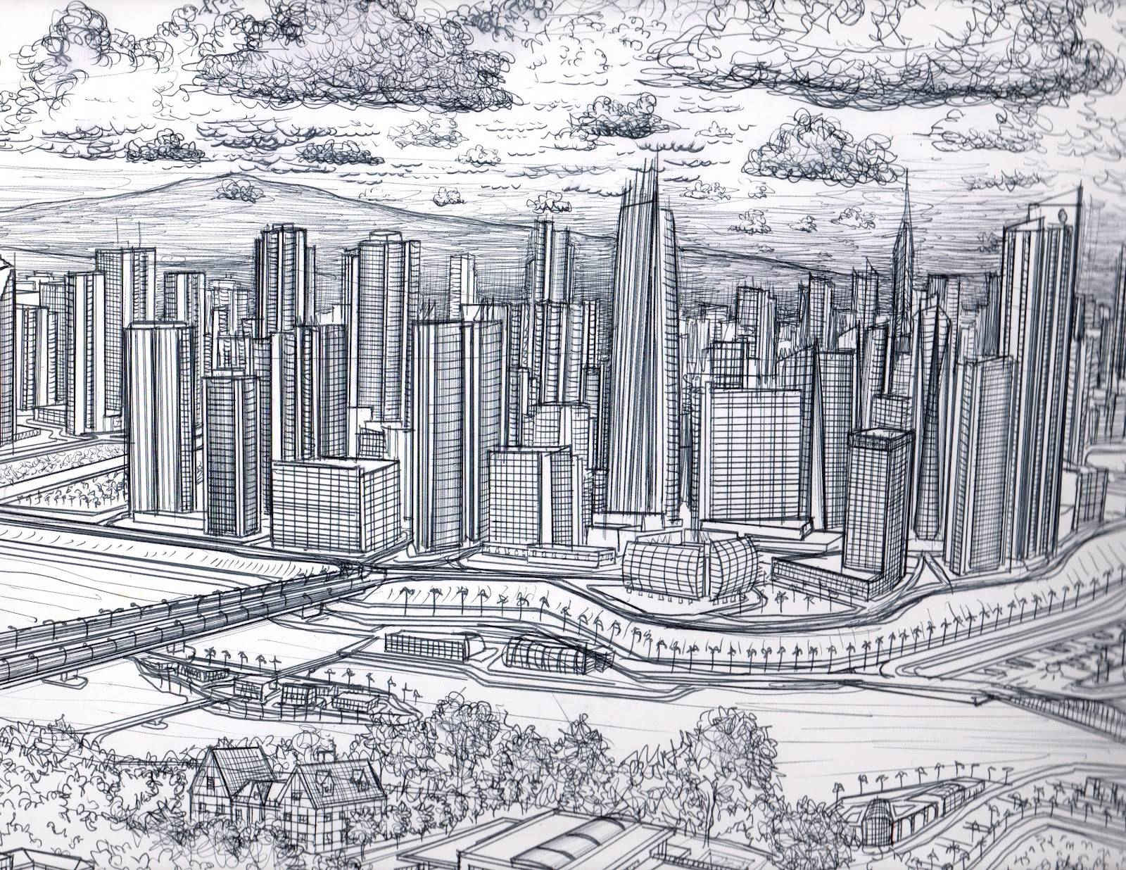 1600x1236 Simple City Drawing
