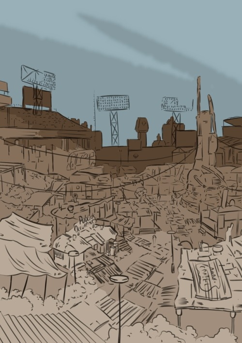 500x707 City Scape Drawing Tumblr