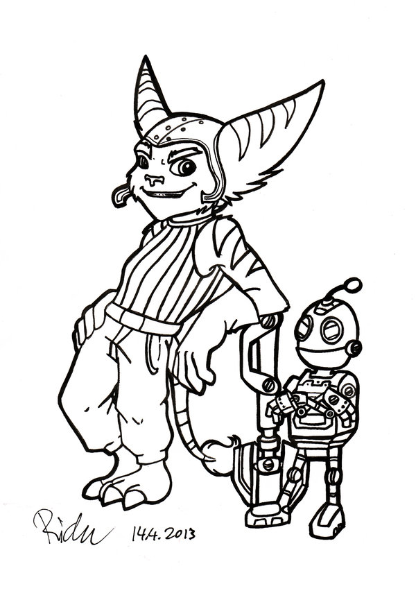 600x852 Ratchet And Clank, Zi Badass Duo Lineart By Ricku