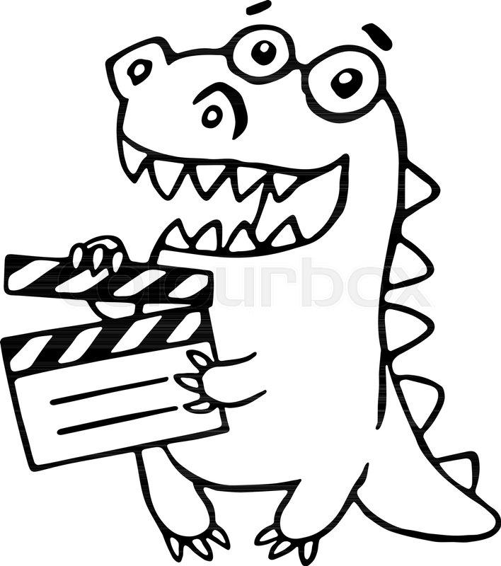 708x800 Dragon With Movie Clapper Board. Vector Illustration. Funny Cute