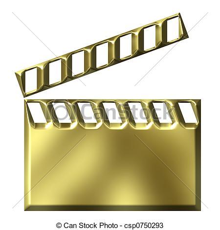 450x470 3d Golden Film Clap Board Drawings