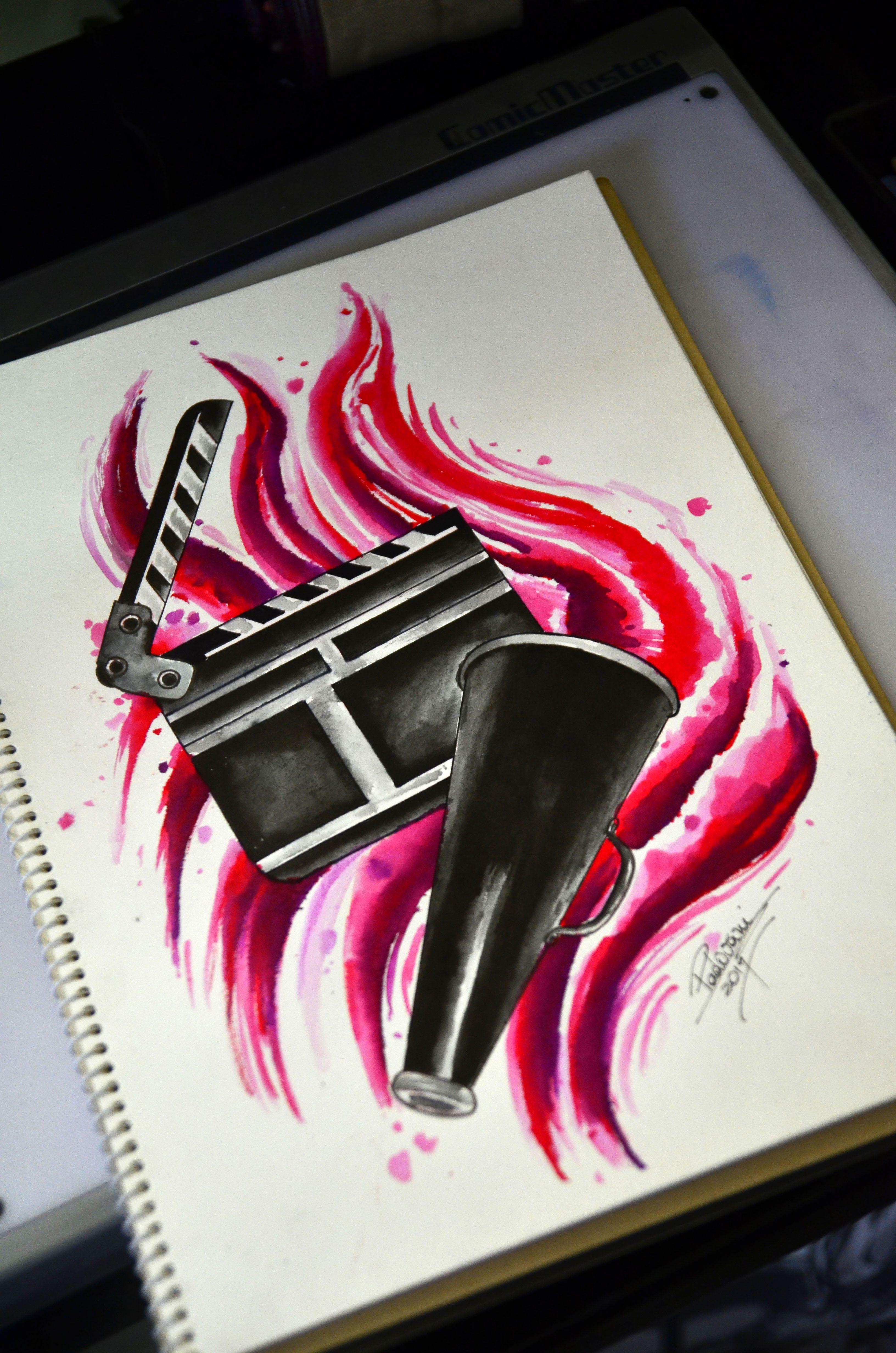 3264x4928 Clapboard And Megaphone Tattoo Sketch