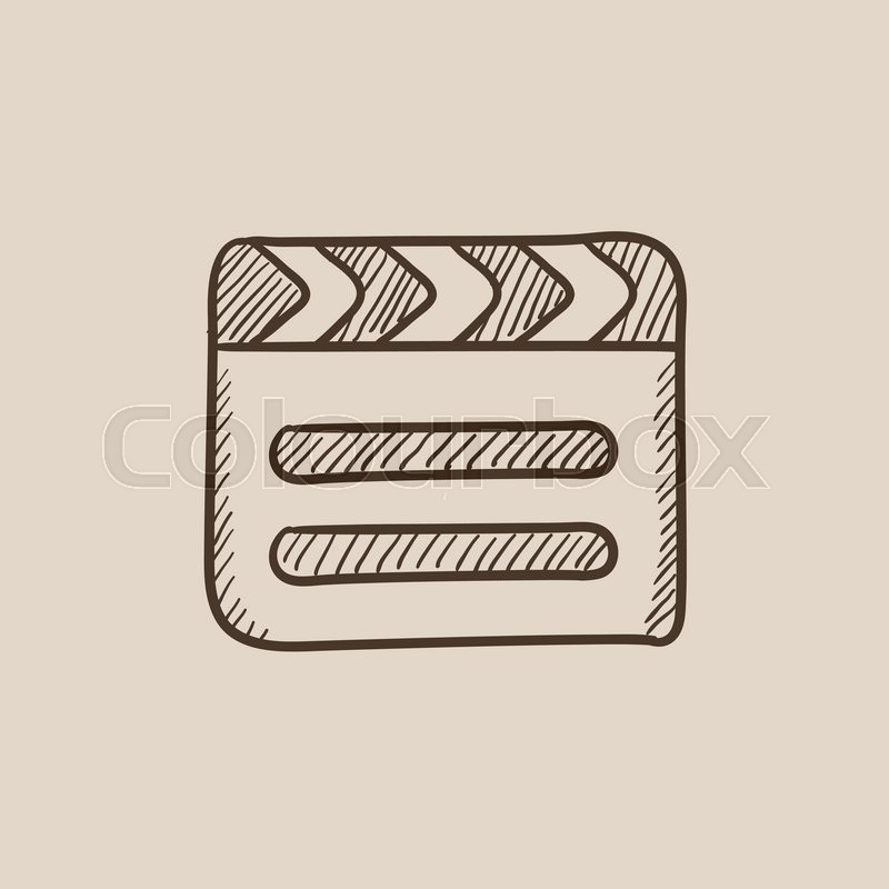 800x800 Clapboard Sketch Icon For Web, Mobile And Infographics. Hand Drawn