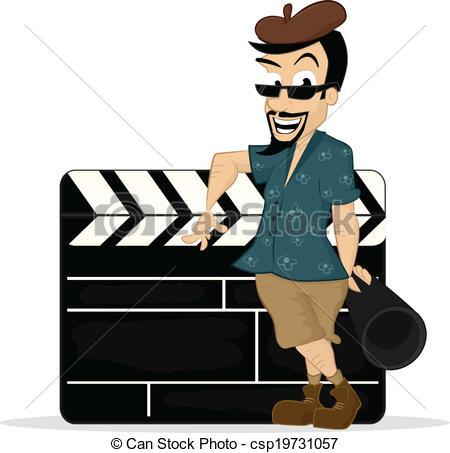 450x453 Director. Film Director Standing With Clapboard Vector Cartoon