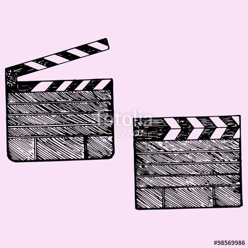 500x500 Set Of Clapper Board Cinema, Doodle Style, Sketch Illustration
