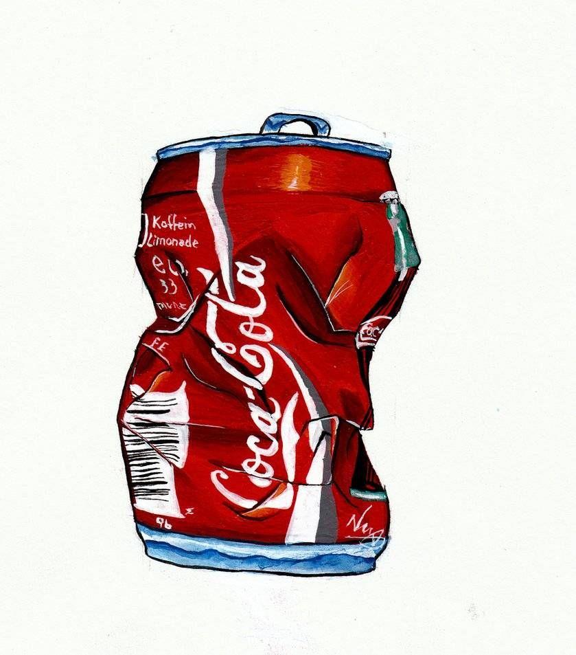839x953 Crushed Can, Can ,tin , Coke,drawing,art Coca Cola