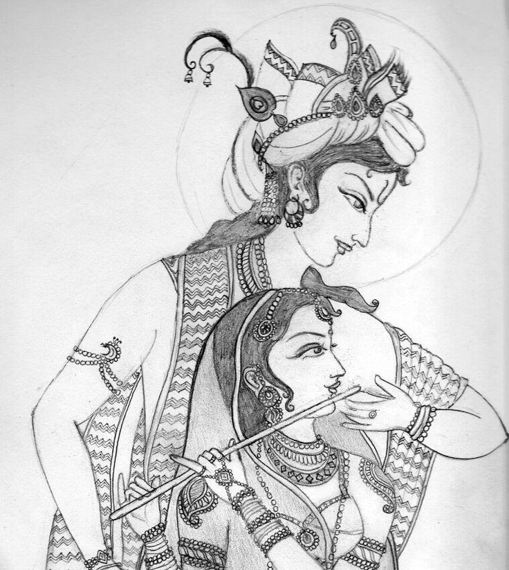 736x823 Radha Krishna Drawing,sketches And Paintings.