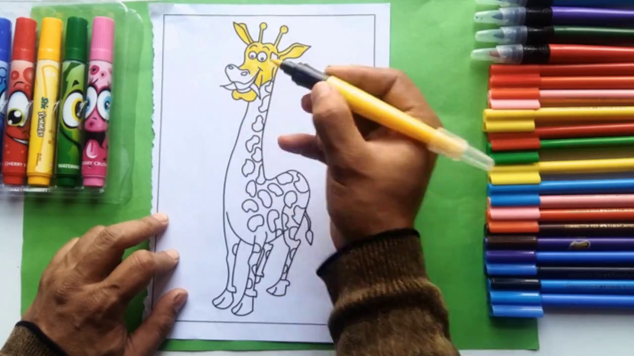 1280x720 Coloring Page Of Beautiful Giraffe To Color W Sketch Pens