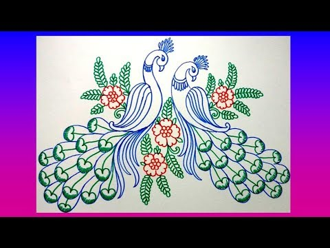 480x360 How To Draw Peacock With Beautiful Feather Design Colour Sketch