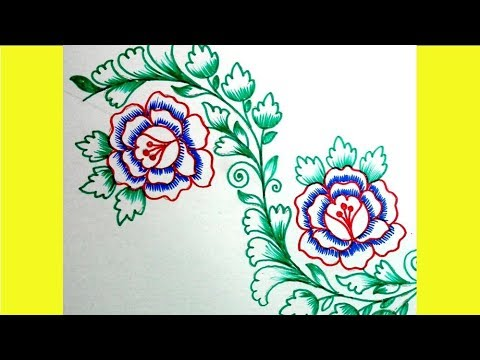 480x360 Sharee Border Embroidery Drawing With Colour Sketch Pen Jana