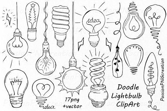 570x379 Doodle Light Bulb Clipart, Hand Drawn Light Bulb Clip Art, Digital