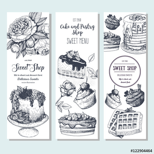 500x500 Sweet Shop Banner Collection. Vertical Banner Set. Hand Drawn Cake