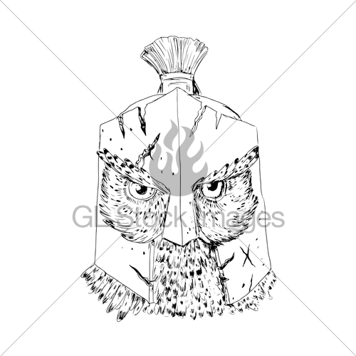 500x500 Horned Owl Spartan Helmet Drawing Gl Stock Images
