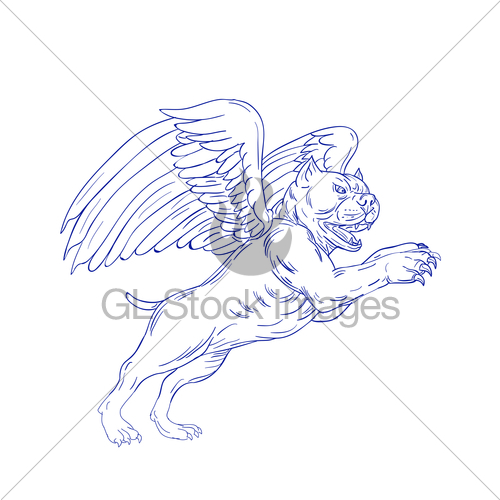 500x500 American Bully With Wings Drawing Gl Stock Images