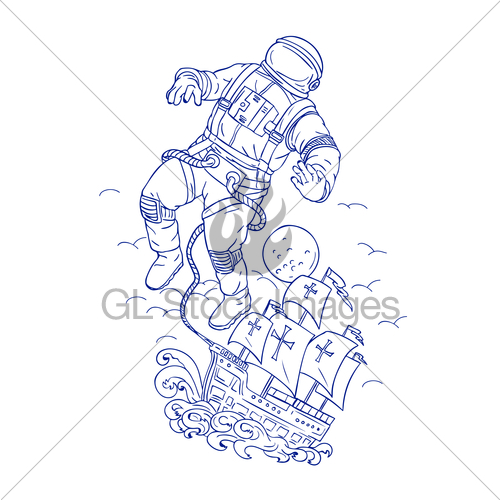500x500 Astronaut Tethered Caravel Ship Drawing Gl Stock Images