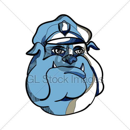 500x500 Bulldog Policeman Head Drawing Gl Stock Images