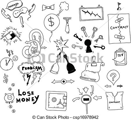 450x412 Business Interest Conflict Hand Drawn Illustration. Vector Doodle