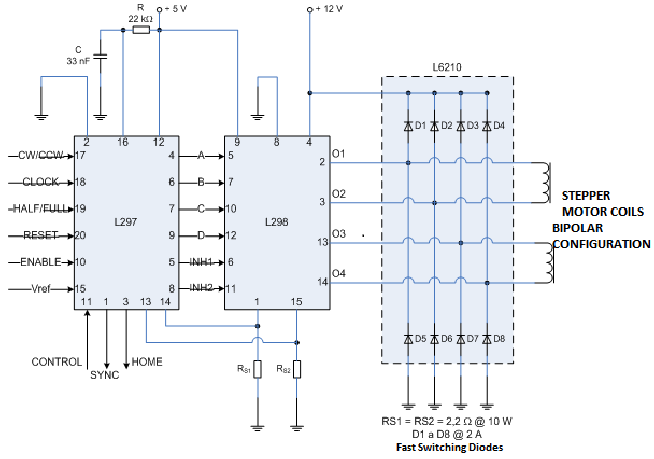 654x459 Connection Diagram Between The L297, L298 And The Stepper Motor