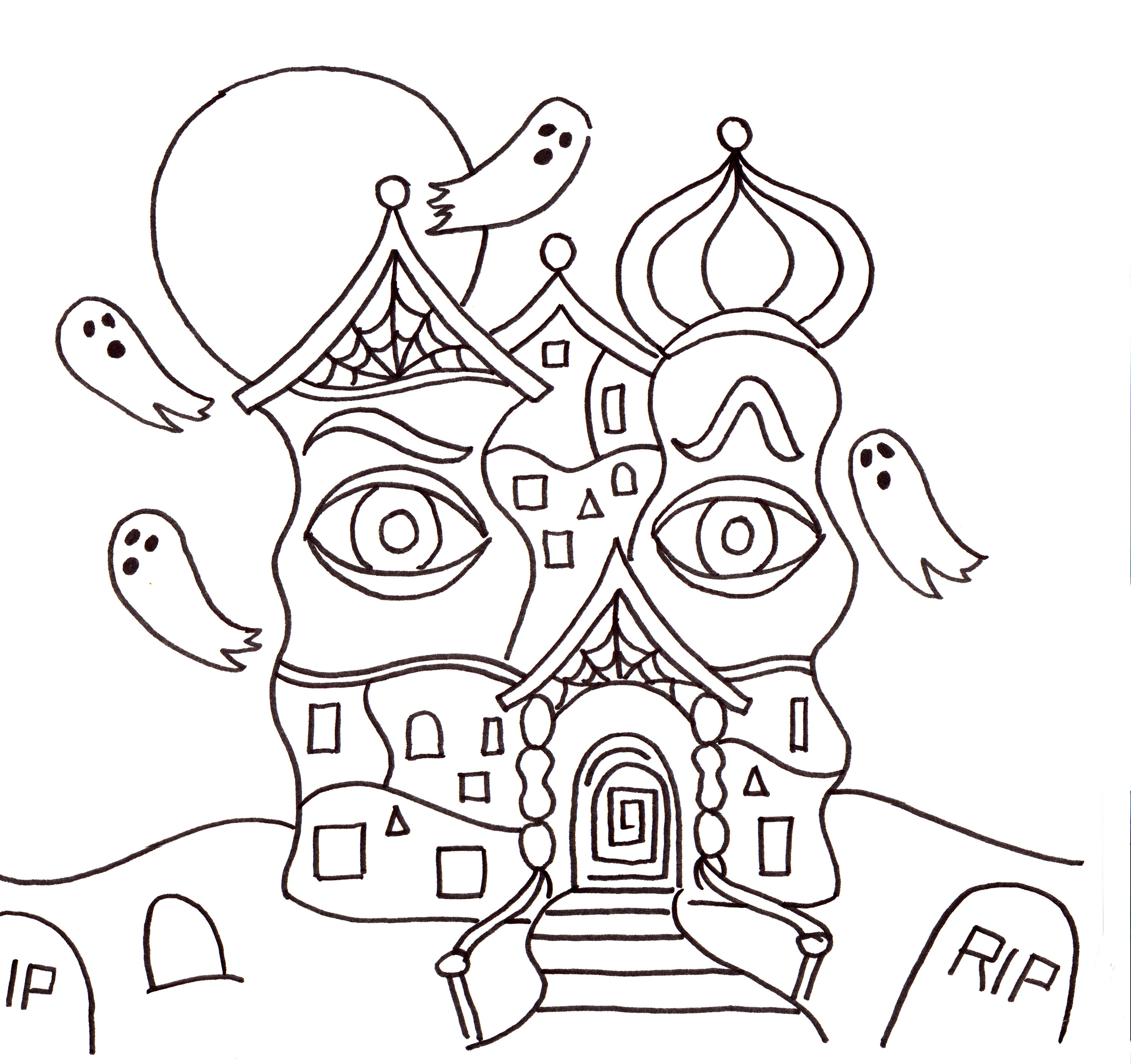 3000x2822 Drawing A Haunted House Halloween Art Lesson