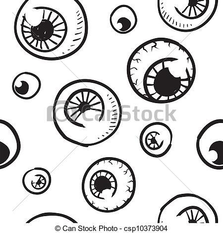 450x470 Seamless Eyeball Vector Background. Doodle Style Seamless Eyeball