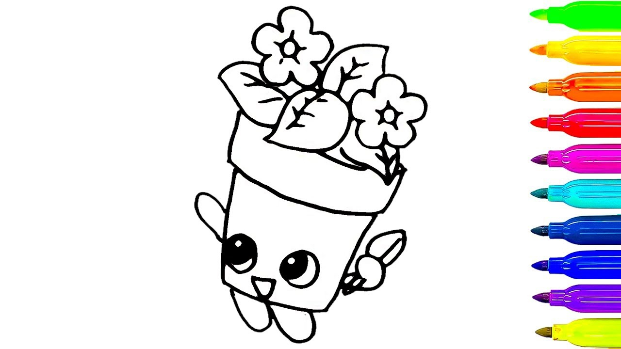1280x720 Flower Pot Drawing For Kid