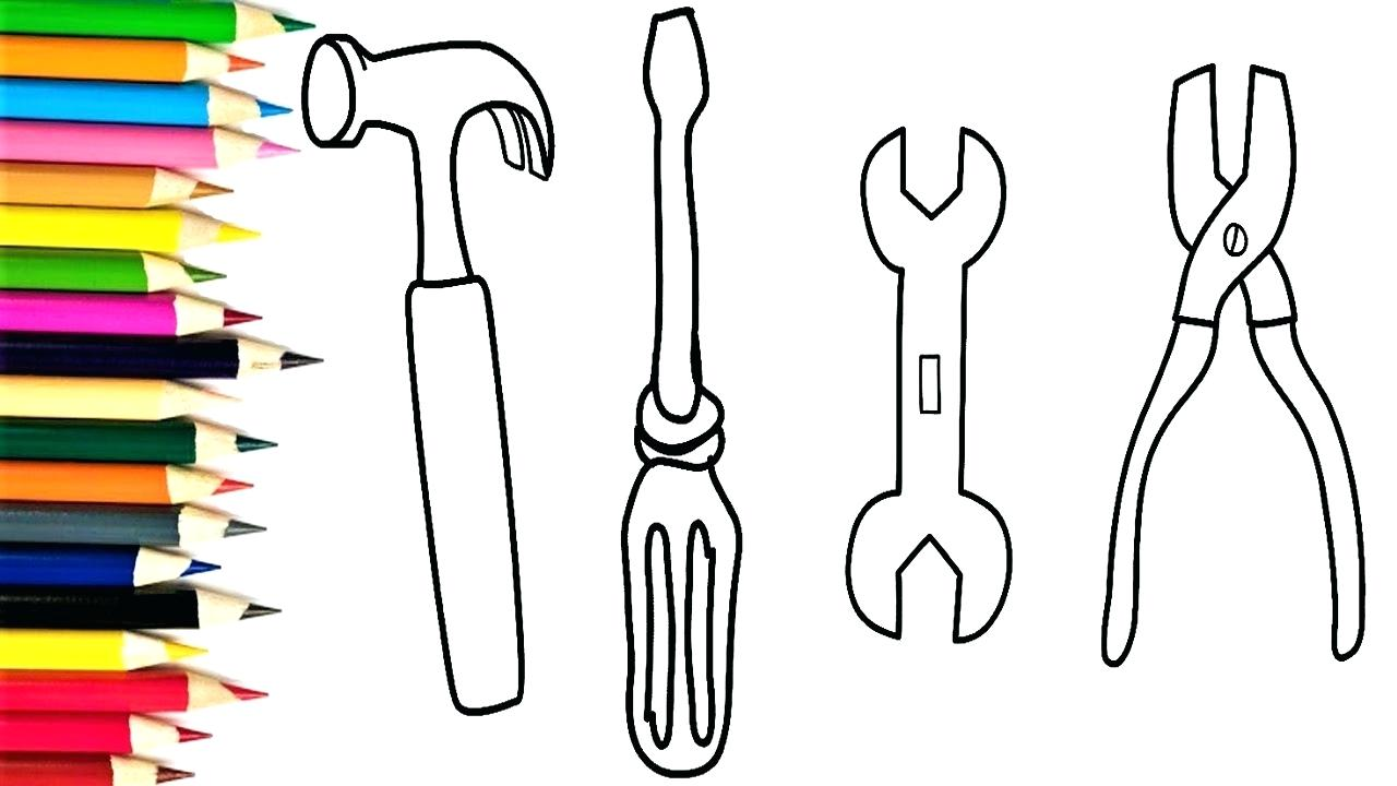 1280x720 How To Draw Repair Tools Set Toys Coloring Pages And Drawing