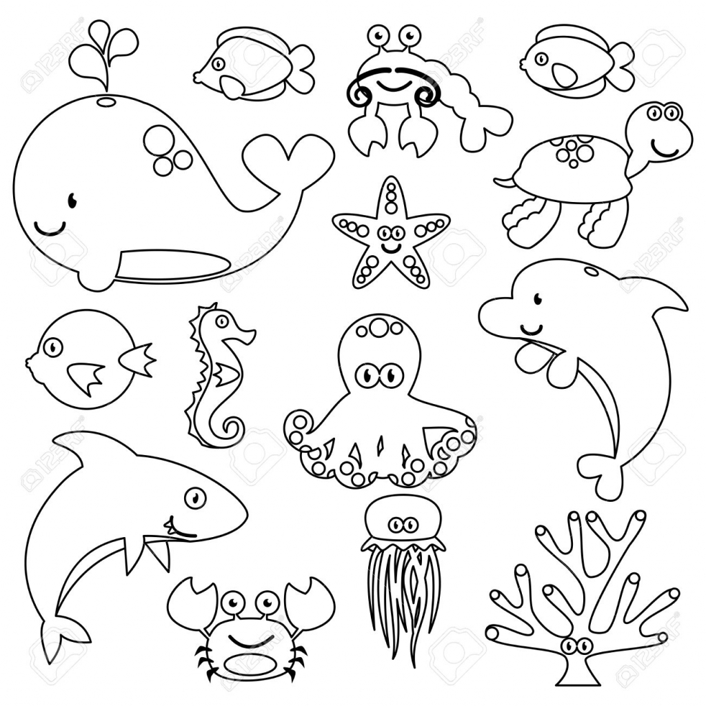 1024x1024 Drawing Of Ocean Animals