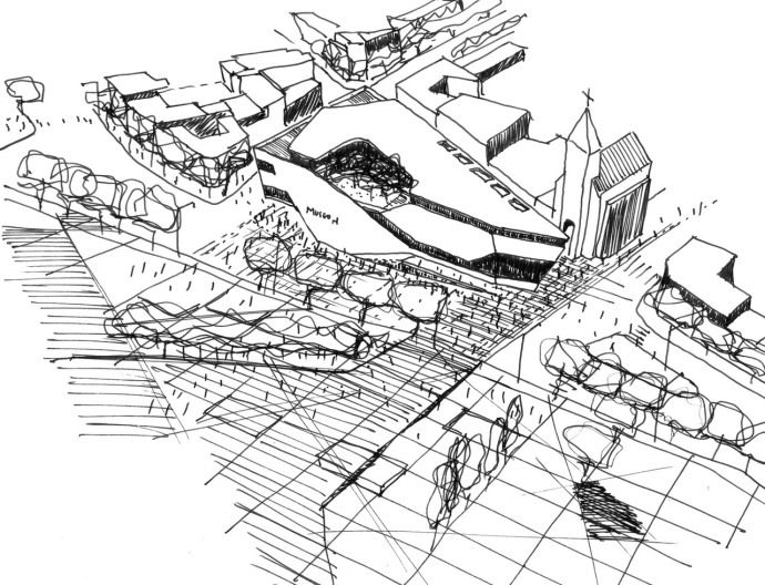 690x528 Site Plan Perspective With Building Facade In Site Context