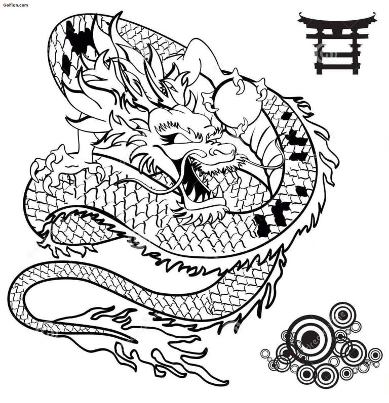 768x797 Cool Black Outline Asian Dragon Tattoo Stencil