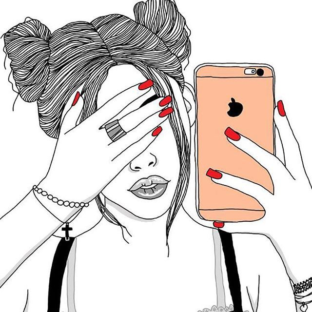 640x640 Outlines, Outline, Tumblr Girl, Draw, Illustration, Digital Art