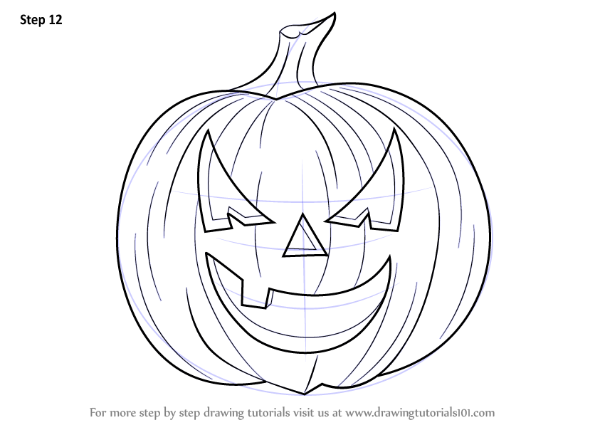 843x597 Learn How To Draw Halloween Pumpkin (Halloween) Step By Step