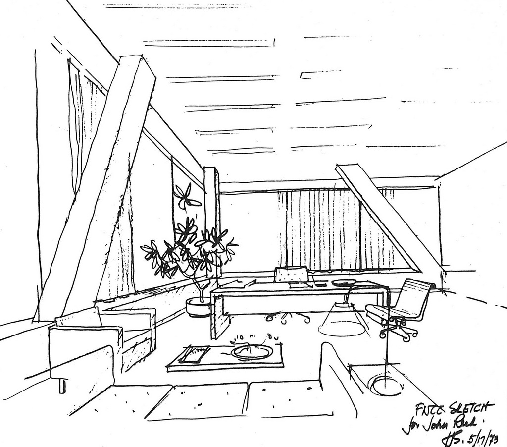 1024x902 Hugh Stubbins Sketch Of Citicorp Center Interior