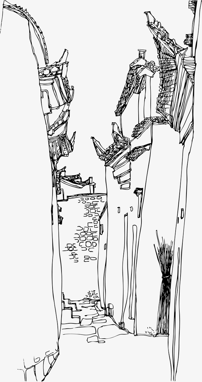650x1225 Sketch Street Corner Of Ancient Town, Ancient Town, Ancient