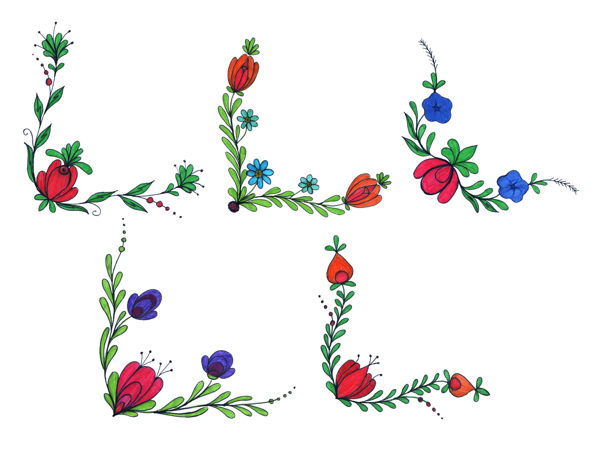 2000x1521 5 Flower Corner Drawing (Png Transparent)