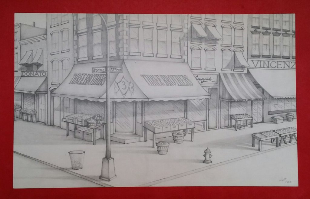 1024x658 Street Corner Drawing By Mattmercer