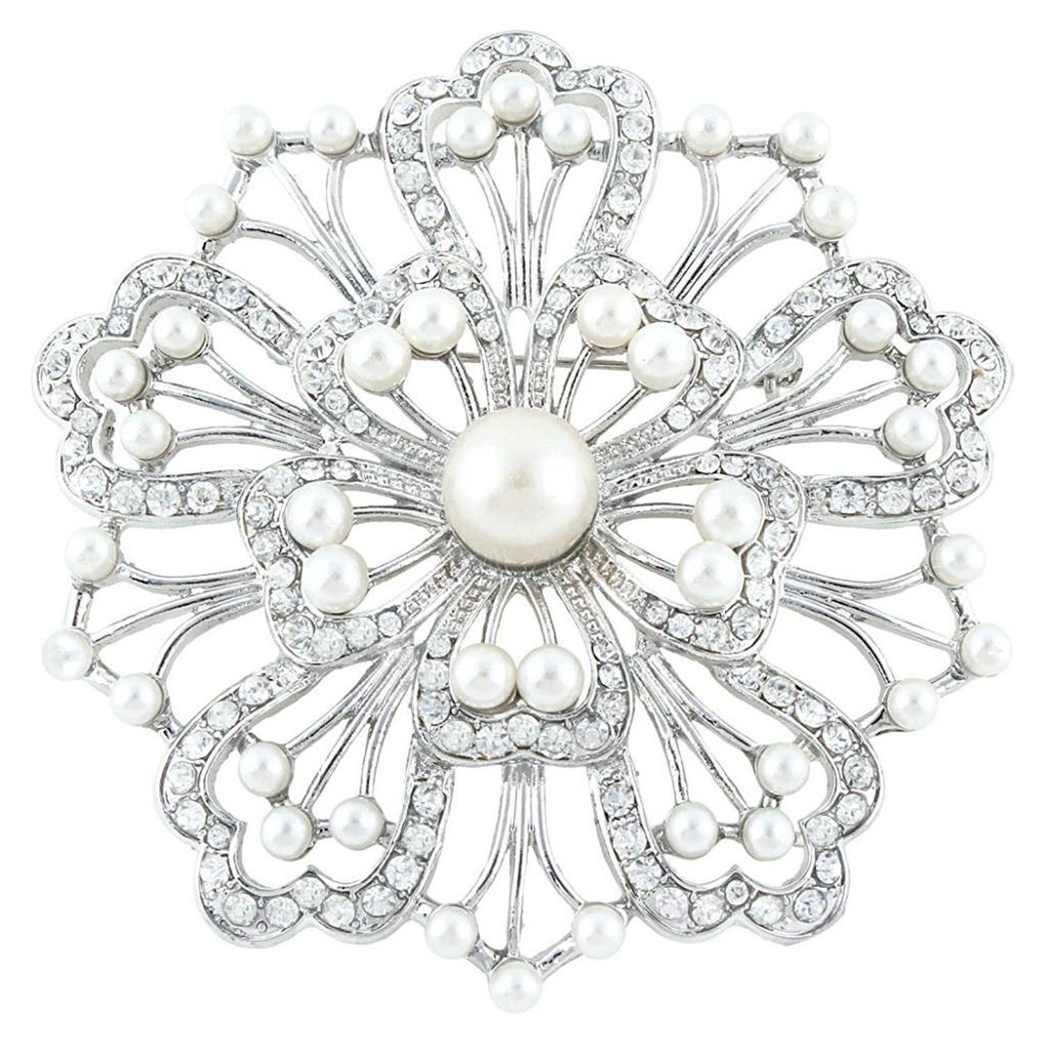 1500x1500 Ever Silver Tone Bridal Floral Simulated Pearl Austrian