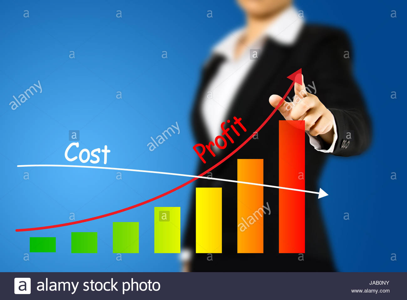 1300x959 Business Woman Drawing Graph Of Profit Compare With Cost Stock