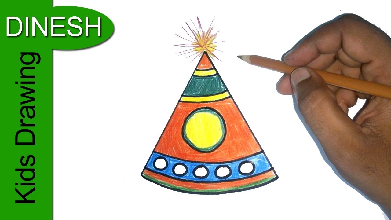 1280x720 Diwali Crackers Drawing How To Draw Diwali Fountain Diwali