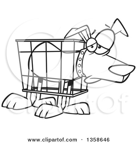 450x470 Lineart Clipart Of Cartoon Blacknd White Unhappy Dog In