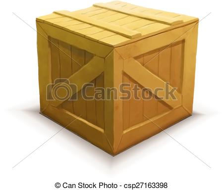 450x384 Yellow Wooden Crate, Realistic Icon Isolated On White. Yellow
