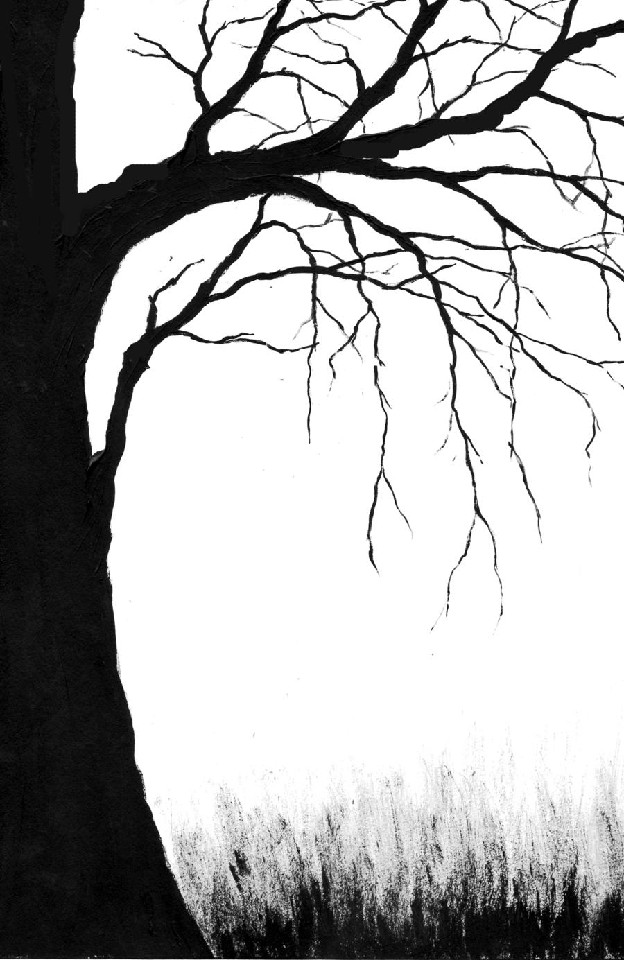 900x1385 Creepy Tree Drawing Creepy Tree Clipart Outline